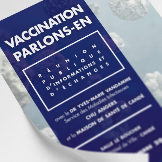 Affiche réalisée pour la Maison de Santé de Candé dans le cadre d'une réunion publique sur la vulgarisation de la vaccinologie.